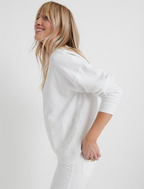 WHITE EYELET SWEATSHIRT, LUCKY WHITE