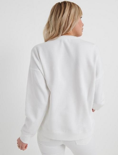 WHITE NOVELTY SWEATSHIRT, LUCKY WHITE