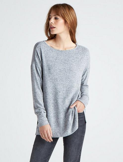 CLOUD JERSEY PULLOVER TUNIC SWEATSHIRT, HEATHER GREY