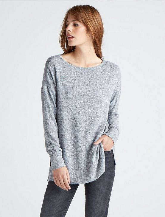 CLOUD JERSEY PULLOVER TUNIC SWEATSHIRT, HEATHER GREY, productTileDesktop