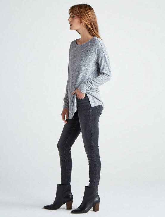 CLOUD JERSEYPULLOVER TUNIC, HEATHER GREY, productTileDesktop