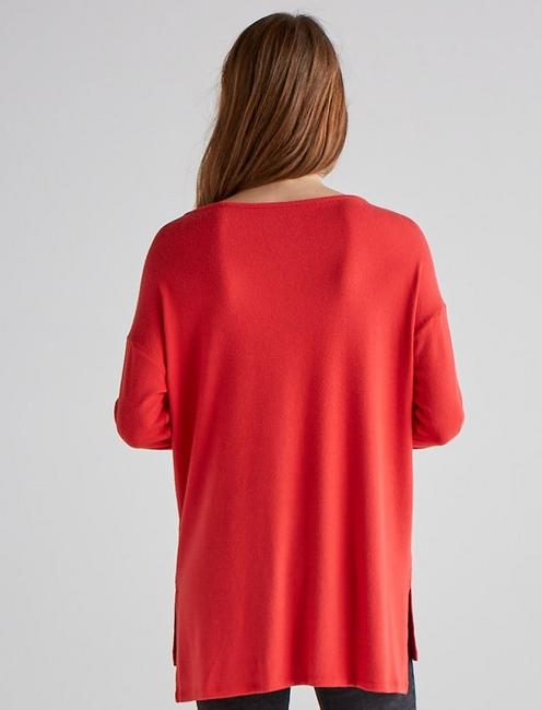 CLOUD JERSEY PULLOVER TUNIC SWEATSHIRT, HIGH RISK RED