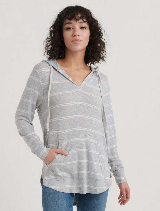 STRIPED CLOUD JERSEY TUNIC PULLOVER, HEATHER GREY MULTI, productTileDesktop