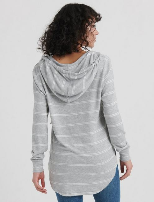 STRIPED CLOUD JERSEY TUNIC PULLOVER, HEATHER GREY MULTI