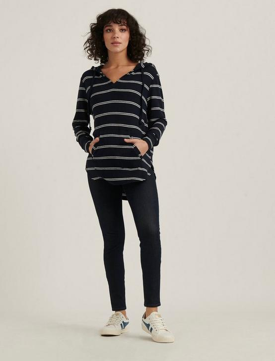 STRIPED CLOUD JERSEY TUNIC PULLOVER, NAVY MULTI, productTileDesktop
