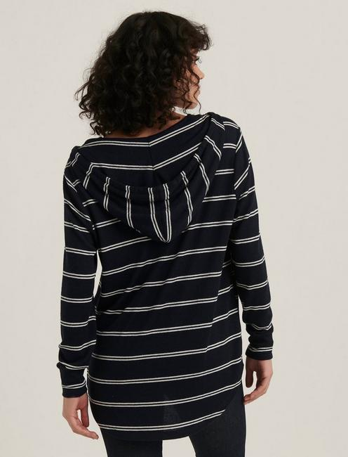 STRIPED CLOUD JERSEY TUNIC PULLOVER, NAVY MULTI
