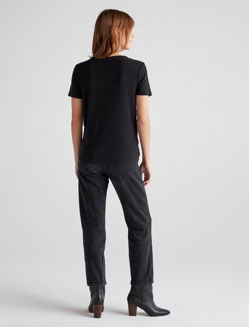CLOUD JERSEY SCOOP NECK POCKET TEE, 001 LUCKY BLACK