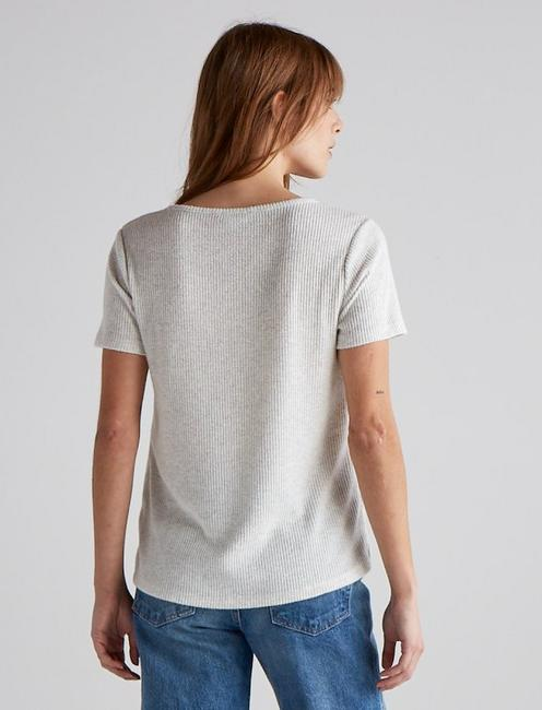 CLOUD JERSEY SCOOP NECK POCKET TEE, LT HEATHER GREY