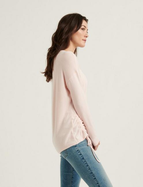 CLOUD JERSEY SIDE LACE TOP, VEILED ROSE