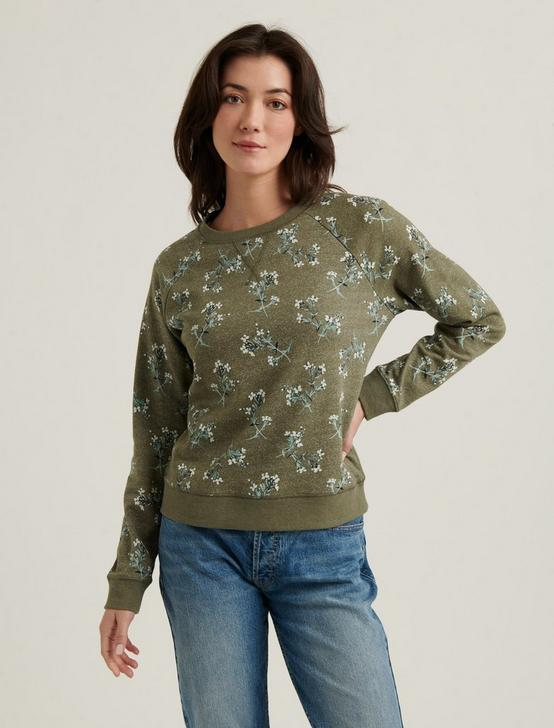 PRINTED CREW NECK PULLOVER, OLIVE MULTI, productTileDesktop