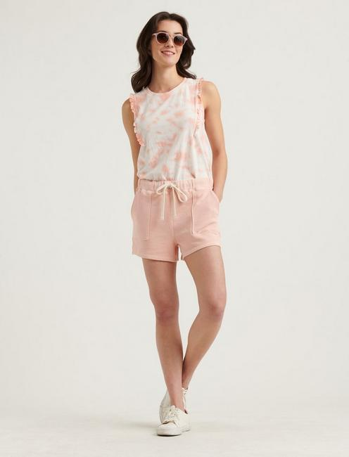 PATCH POCKET TERRY SHORTS, PEACH AMBER