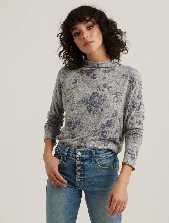CLOUD JERSEY PRINTED MOCK NECK TOP, HEATHER GREY MULTI, productTileDesktop