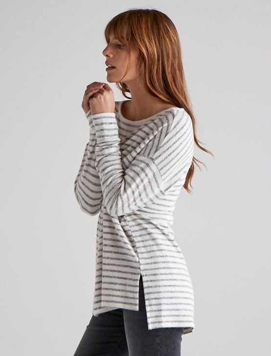 STRIPED CLOUD JERSEYPULLOVER TUNIC, GREY STRIPE, productTileDesktop