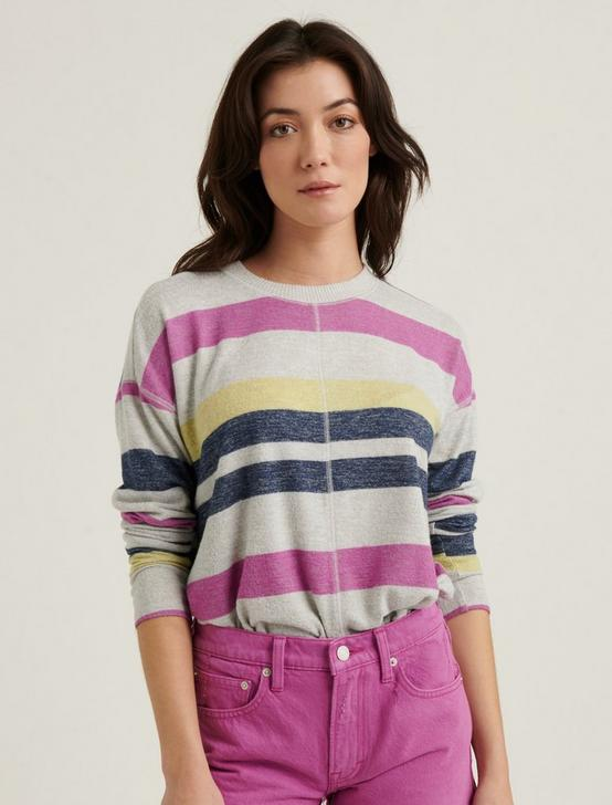 MULTI STRIPE CLOUD JERSEY PULLOVER, PINK MULTI, productTileDesktop