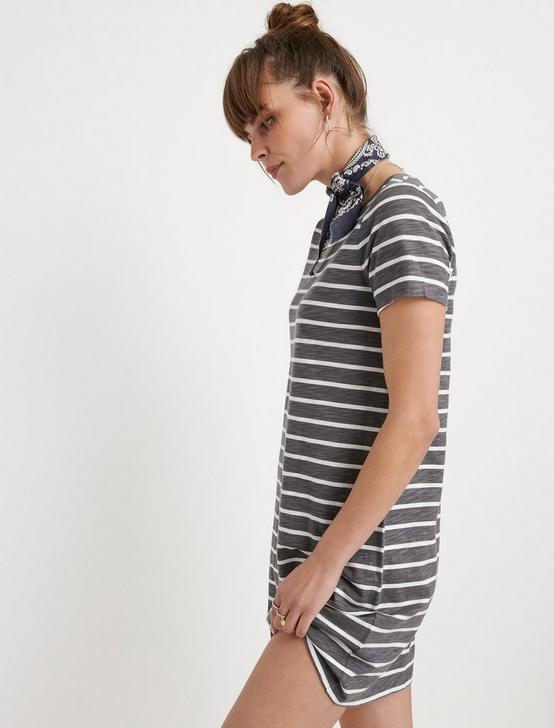 STRIPED TEE DRESS, GREY STRIPE, productTileDesktop