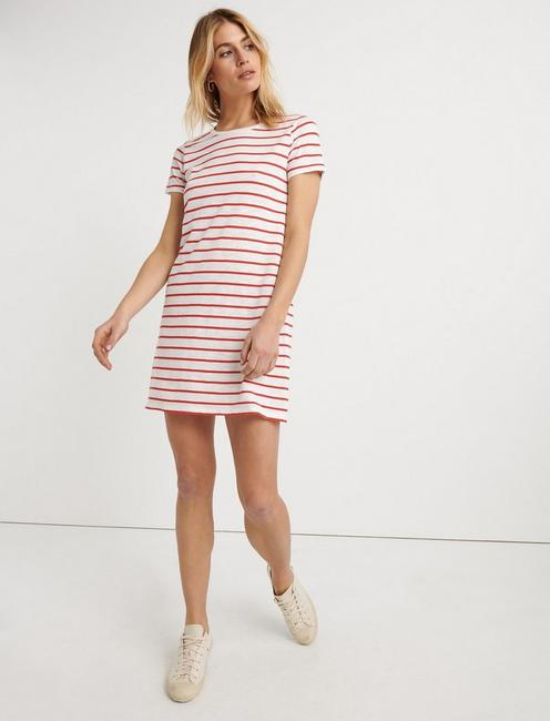 STRIPED TEE DRESS, RED STRIPE