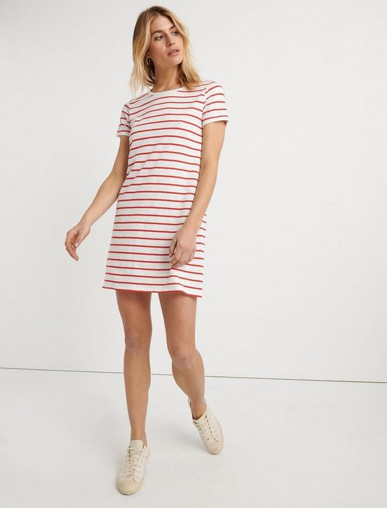 STRIPED TEE DRESS, RED STRIPE, productTileDesktop