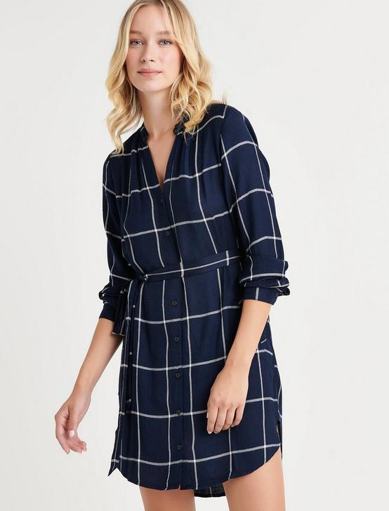 PLAID SHIRT DRESS, NAVY MULTI, productTileDesktop