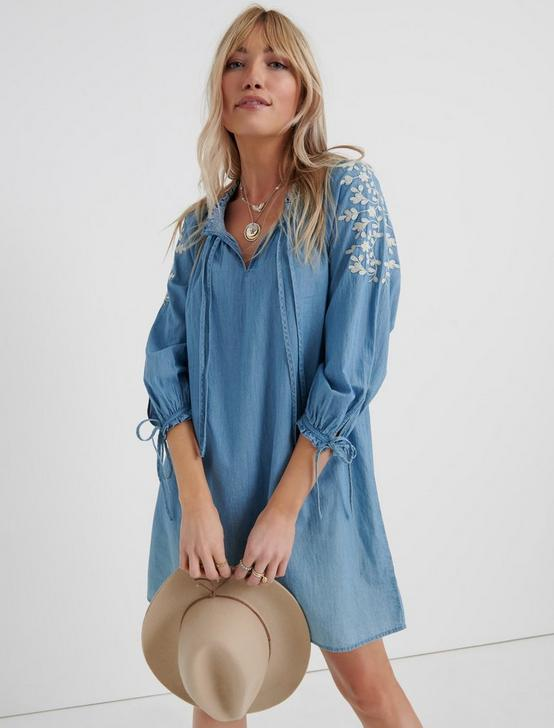 CHAMBRAY EMBROIDERED DRESS, LIGHT WASH, productTileDesktop