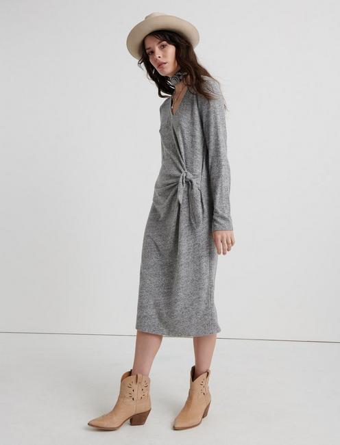 CLOUD JERSEY LONG SLEEVE DRESS, HEATHER GREY