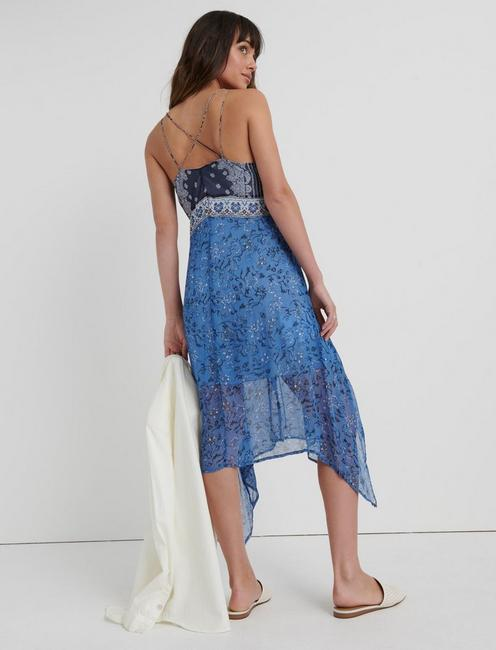 LAYLA SCARF PRINT DRESS, NAVY MULTI