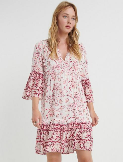 Border Print Hazell Peasant Dress