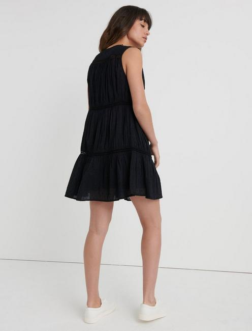 SLEEVELESS HAZELL PEASANT DRESS, LUCKY BLACK #001
