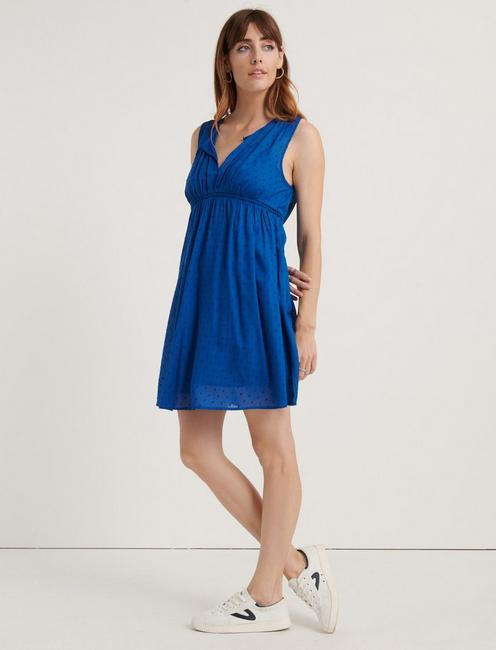 SLEEVELESS HAZELL PEASANT DRESS, 456 COBALT
