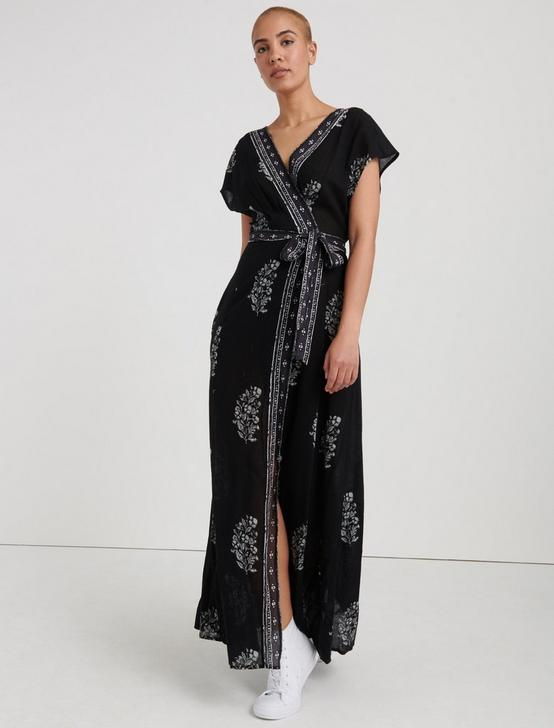 JORDAN WOODBLOCK WRAP DRESS, BLACK MULTI, productTileDesktop