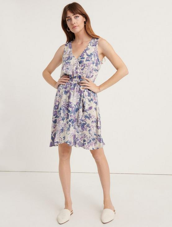 ZOE FLORAL WRAP DRESS, PURPLE MULTI, productTileDesktop