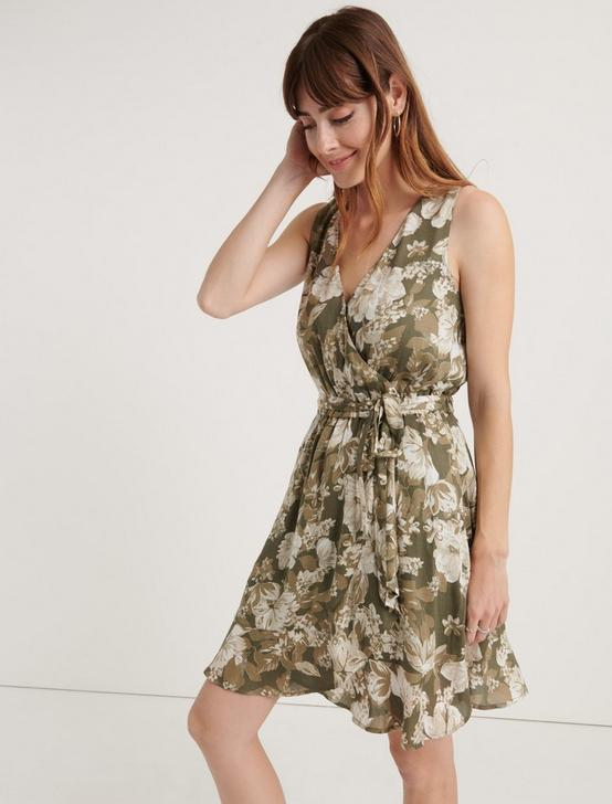 ZOE FLORAL WRAP DRESS, OLIVE MULTI, productTileDesktop