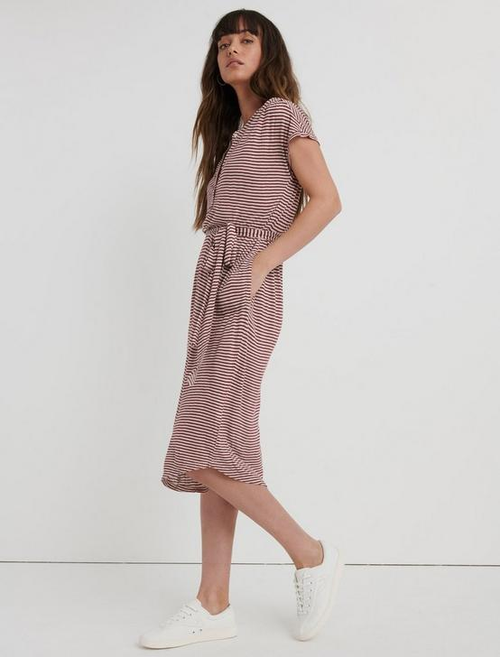 STRIPE HENLEY DRESS, RED STRIPE, productTileDesktop