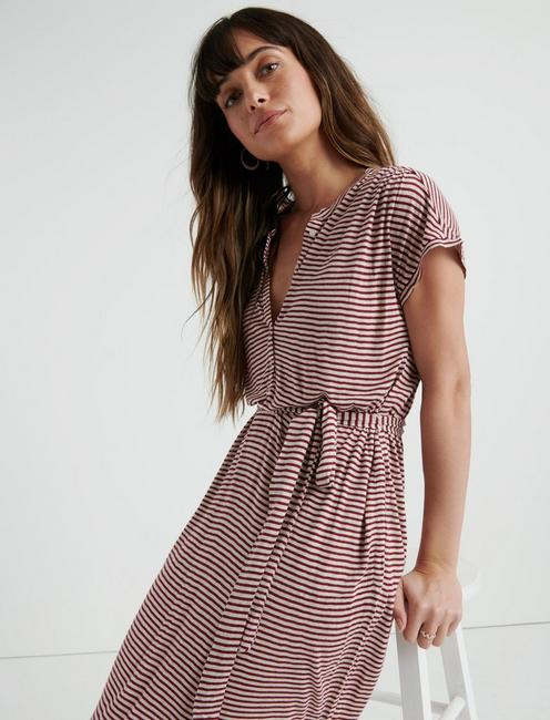 STRIPE HENLEY DRESS, RED STRIPE