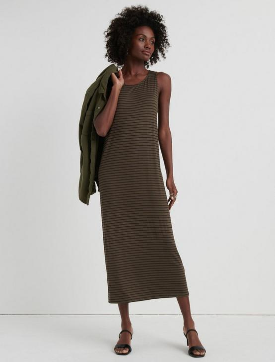 TWISTED BACK STRIPE DRESS, OLIVE MULTI, productTileDesktop