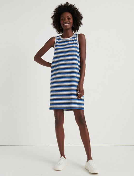 STRIPE MUSCLE TANK DRESS, BLUE MULTI, productTileDesktop