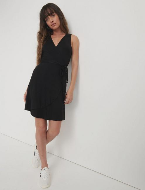 MINI WRAP DRESS, 001 LUCKY BLACK