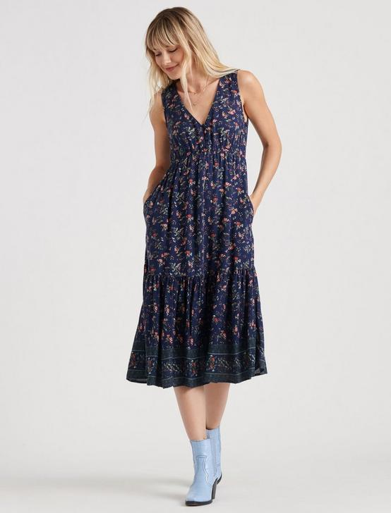 PRINTED LUNA DRESS, NAVY MULTI, productTileDesktop