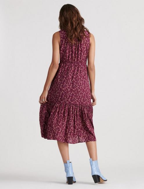 LUNA TIERED DRESS, BURGUNDY MULTI