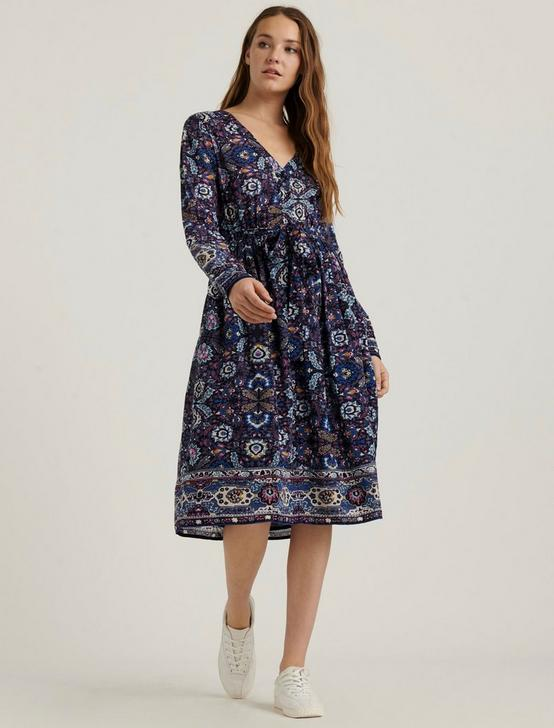 FLORENCE BORDER PRINT DRESS, NAVY MULTI, productTileDesktop