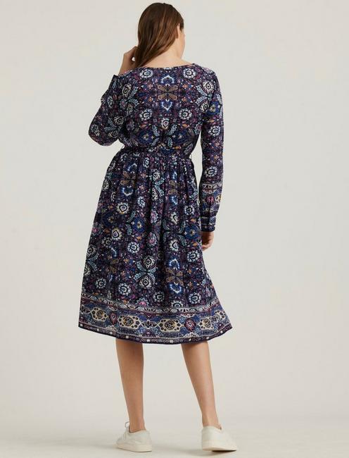 FLORENCE BORDER PRINT DRESS, NAVY MULTI