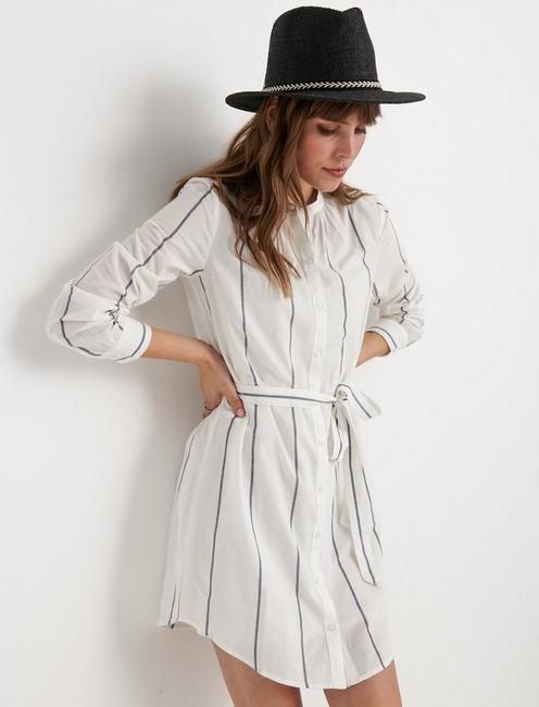 AMBER SHIRT DRESS, BLUE STRIPE