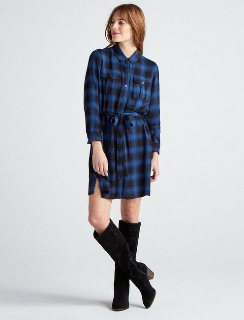 TONI PLAID SHIRT DRESS,