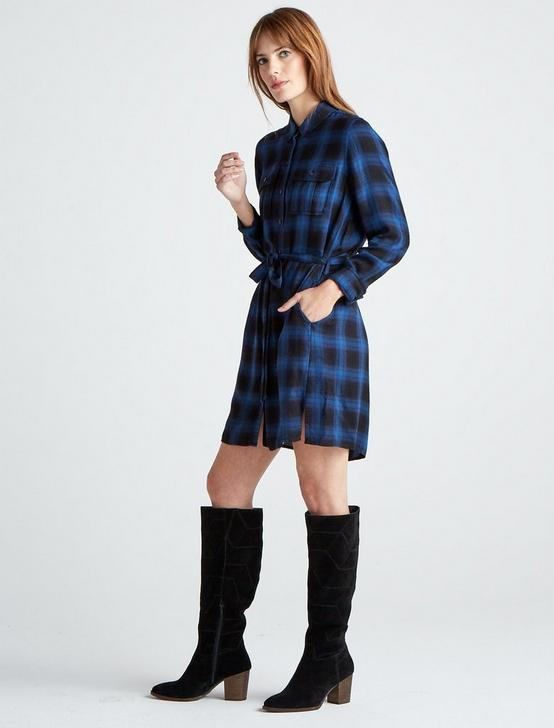 TONI PLAID SHIRT DRESS, BLUE MULTI, productTileDesktop