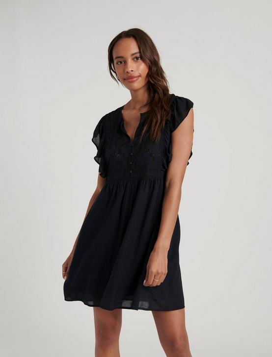 ISABELLA EMBROIDERED MINI DRESS, 001 LUCKY BLACK, productTileDesktop