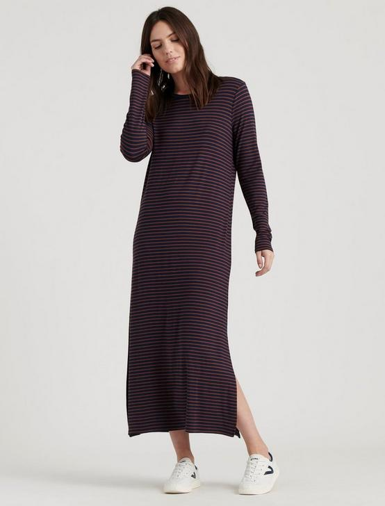 STRIPE KNIT DRESS, NAVY STRIPE, productTileDesktop