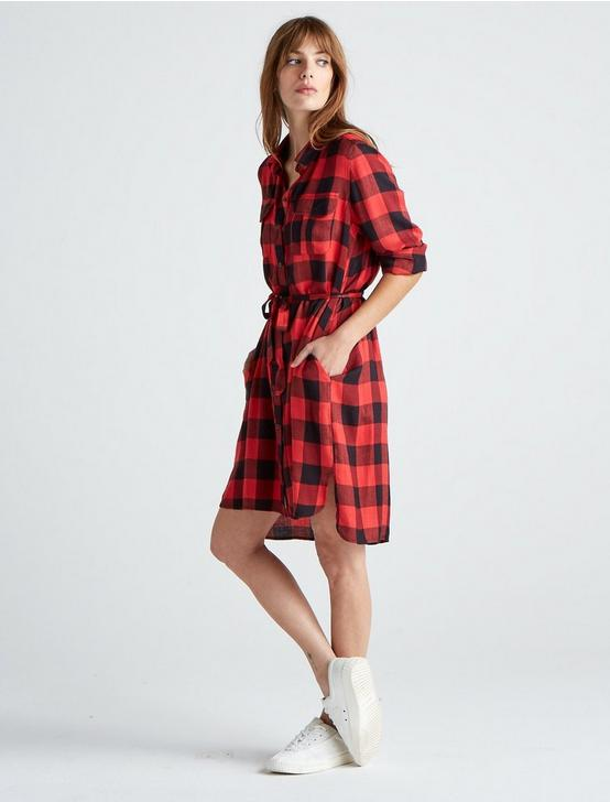 TONI PLAID SHIRT DRESS, RED MULTI, productTileDesktop