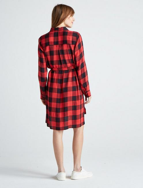 TONI PLAID SHIRT DRESS, RED MULTI