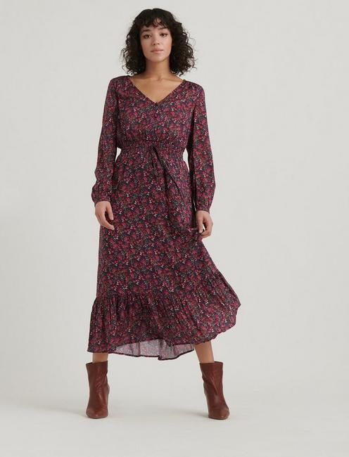 BREA DITSY FLORAL DRESS, RED MULTI