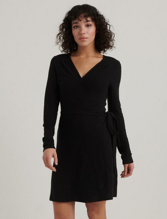 CLOUD JERSEY WRAP DRESS, 001 LUCKY BLACK, productTileDesktop