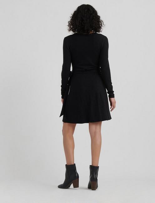 CLOUD JERSEY WRAP DRESS, 001 LUCKY BLACK